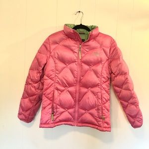Girls XL The Northface Pink/Green Down Puffer